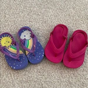 Two pairs of toddler size 8 flip flops